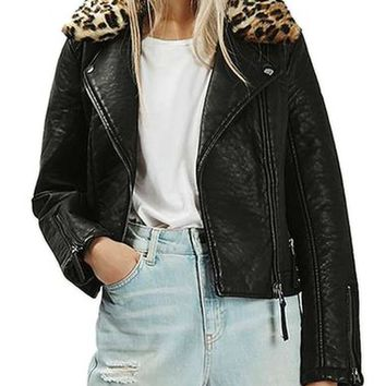 Topshop Faux Leather Jacket with Faux Leopard Fur Collar | Nordstrom