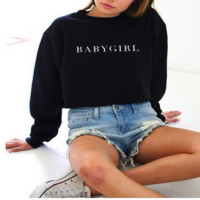 Comfortable Long Sleeve BABYGIRL Pullover Sweatshirt Tops