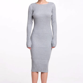 (alr) Round neck ribbed knit silhouette gray dress