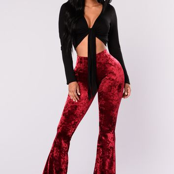 Karlianna Velvet Pants - Burgundy