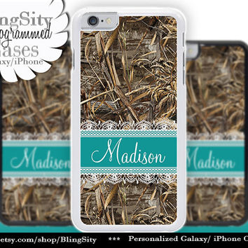 Camo Turquoise Monogram iPhone 5C 6 Case Plus Teal Lace iPhone 5s 4 Ipod Hunting Realtree Custom Name Personalized Country Inspired Girl