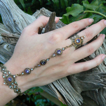 slave bracelet Swarovski hand chain hand flower slave ring bohemian mothers day goth victorian moon goddess pagan witch boho gypsy style