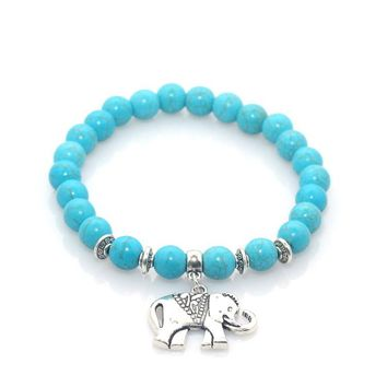 Elephant Natural Stone Turquoise Beaded Charm Bracelet - 17 Variations