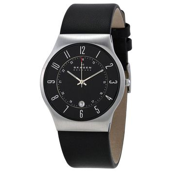 Skagen Black Dial Black Leather Mens Watch 233XXLSLB