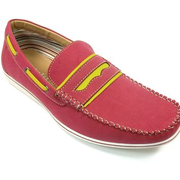 Mens Polar Fox Two Tone Penny Casual Loafers Shoes 30222 Red-396