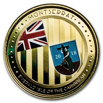 2018 Montserrat 1 oz Gold Emerald Isle of the Caribbean (Colorized)