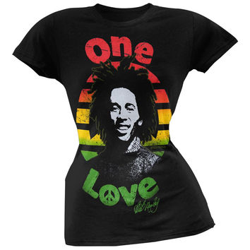 Bob Marley - One Love Rasta Streaks Juniors T-Shirt