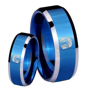 His Her Shiny Blue Bevel Star Wars Boba Fett Sci Fi Science Two Tone Tungsten Wedding Rings Set