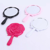 milesi brand Rose vintage handle Makeup Mirrors oval vanity small mirror Pocket portable new Shaped Design air espelho H0037