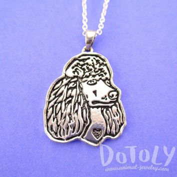 French Poodle Dog Portrait Pendant Necklace in Silver | Animal Jewelry