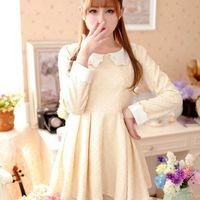Kawaii Lolita Sweet Doll Collar Long Sleeve Dress - Yellow or Beige - S M L from Tobi's Finds