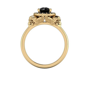 Lillith Skull Halo Ring in your choice of metal with 1.4ctw of Black Diamonds!