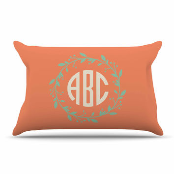 "Kess Original ""Classic Orange Wreath Monogram"" Green Illustration Pillow Case"