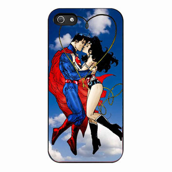 cool kiss superman wonder woman for Iphone 5 Case *NP*