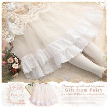 Spring Summer Tulle Lace White Fairy Basic Skirt Petticoat Cute Princess Ball Gown Skirts Tutu Cake Skirt for Mori Girl