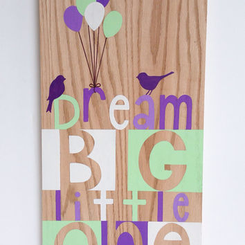 Hand Painted Children's Art Dream Big Little by SweetBananasArt