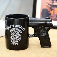 1Piece Creative Sons of Anarchy Gun Handle Coffee Mug Pistol Mug Ceramic Cup (Size: 1, Color: Black)