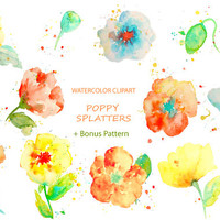 Hand drawn watercolor clipart - abstract yellow, orange and blue poppies with paint splatters for instant download