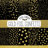 Gold Confetti Digital Paper. Black and Gold Confetti Scarpbooking Background. Galaxy Digital Paper. Metallic Christmas, New Year Patterns.