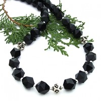 Star Cut Black Onyx Necklace, Sterling Silver Elegant Handmade Jewelry for Women