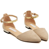 Apricot Point Toe Metallic Slingbacks Flats -SheIn(Sheinside)