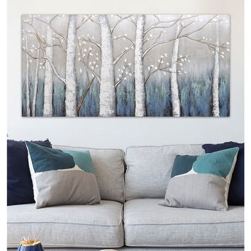 Modern landscape oil painting hand-painted canvas wall art  abstract blue gray birch woods painting
