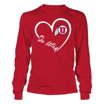 Utah Utes - Heart 3/4 - T-Shirt - Officially Licensed Fashion Sports Apparel