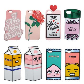 "3D Cute Milk Box Chill Pills Soft Cover For iPhone X SE 5C 5S 6 6S 7 8 Plus 5.5"" Cover Cartoon Apeach Ryan Flower Phone Cases"