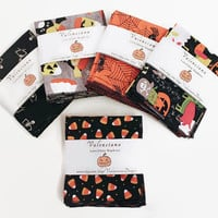 Hanky (4), Halloween Party Favors, Lunchbox or Everyday Cotton Reusable Napkins, Assorted with Stylish Black Rolled Hem... Ready to Ship