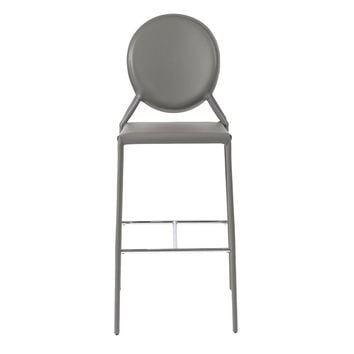 Isabel Bar Stool in Gray with Chrome Foot Rest - Set of 2