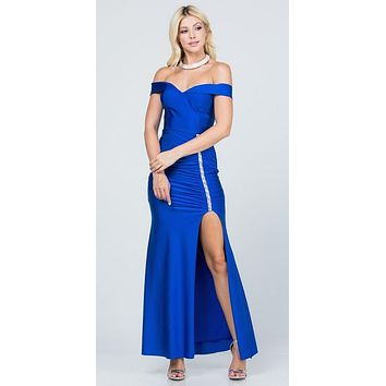 Off The Shoulder Long Mermaid Sheath Gown Royal Blue With Side Slit