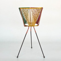 Mid Century Tripod Plant  Stand / 50's 60's Home Decor / Red, Green & Yellow