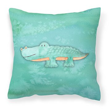 Alligator Watercolor Fabric Decorative Pillow BB7385PW1414