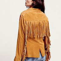Free People Womens Safari Fringe Suede Jacket
