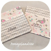 Personalized Girl Burp Cloths ~ Pink and Grey Elephants and Giraffes ~ Baby Girl Burp Cloths ~ Personalized Baby Gift ~ Minky Burp Cloths