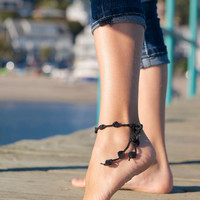 Black Crochet Anklet, Nude shoes, Foot jewelry, Victorian Lace, Sexy, Yoga, Anklet