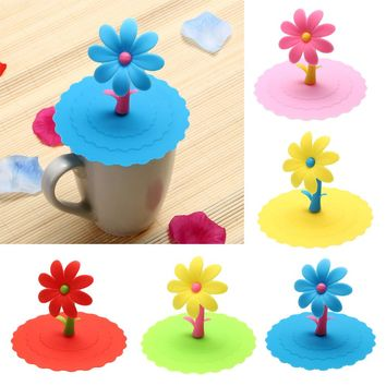 Sunflower Lacet Anti-Dust Silicone Lids For Tea Cup