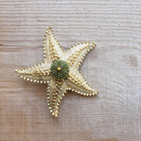 Sea Urchin Brooch Green Vintage Starfish Pin