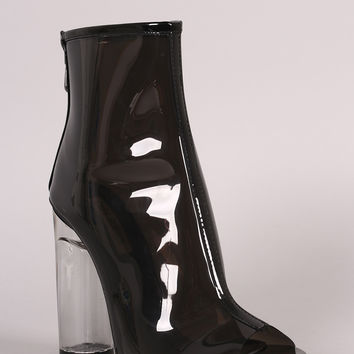 Lucite Peep Toe Rounded Heel Ankle Boots