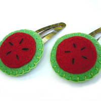 Watermelon hair clips, cute felt barrettes, handmade hair pins, fruit snap clips, set of 2