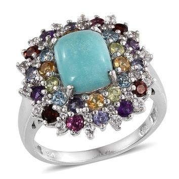 Sonoran Blue Turquoise, Multi Gemstone Platinum Over Sterling Silver Ring (Size 7.0) TGW 5.410 cts.