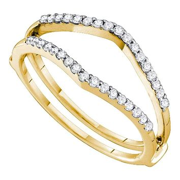 14kt Yellow Gold Women's Round Diamond Ring Guard Wrap Enhancer Wedding Band 1/4 Cttw - FREE Shipping (US/CAN)