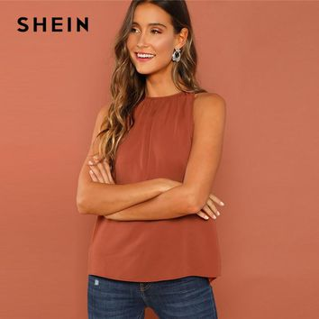 SHEIN Rust Modern Lady Weekend Casual Gathered Halter Neck Button Streetwear Top Summer Women Highstreet Fashion Top Vest