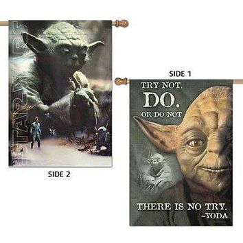 "YODA TRY NOT. DO. OR DO NOT STAR WARS 28""X40"" 2-SIDED BANNER FLAG NEW WINCRAFT"