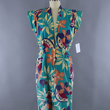 Vintage 1950s Day Dress / Aqua Green Floral Print Seersucker Cotton