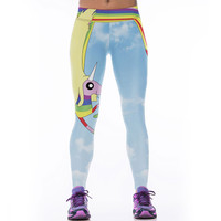 Cartoon Rainbow Unicorn Legging 3D Print Sport Leggings Super Elastic Slim Fitness Jeggings Polyester Gym Pants For Women
