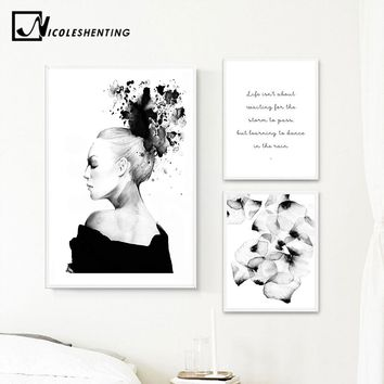 Nordic Decoration Watercolor Girl Flower Canvas Poster Print Wall Art Abstract Painting Scandinavian Style Picture Bedroom Decor