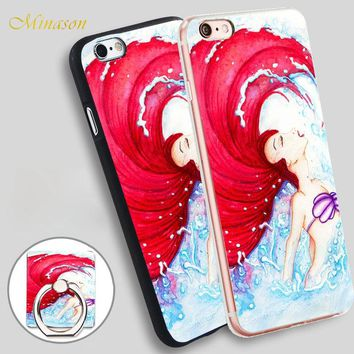 Minason little mermaid surfing Mobile Phone Shell Soft TPU Silicone Case Cover for iPhone X 8 5 SE 5S 6 6S 7 Plus