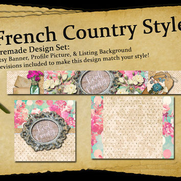 French Country Style | Etsy Shop Page Design Set | Includes Revisions, Banner, Profile Picture, and Listing Page Background