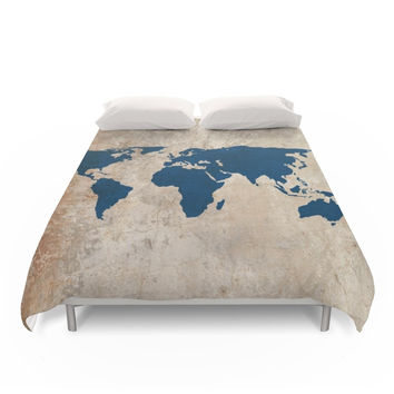 Society6 Rustic World Map Duvet Cover